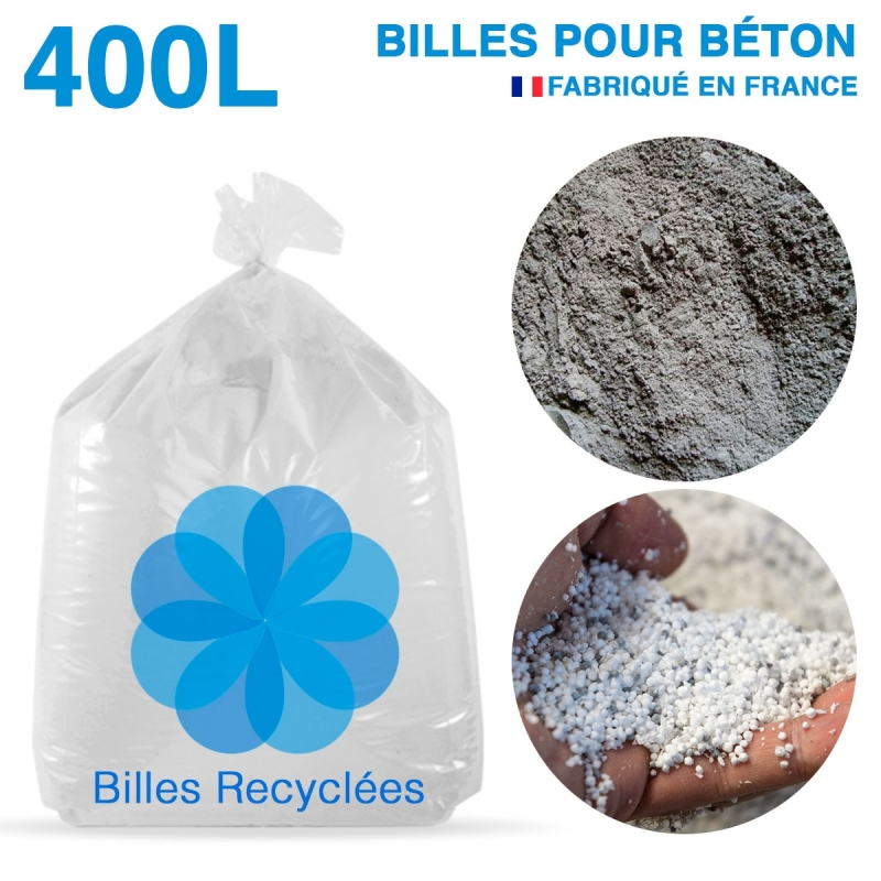 400 litres de billes et poussières de polystyrène recyclé pour béton