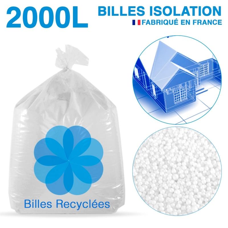 2000 litres, 2M3 de billes de polystyrène recyclé pour isolation