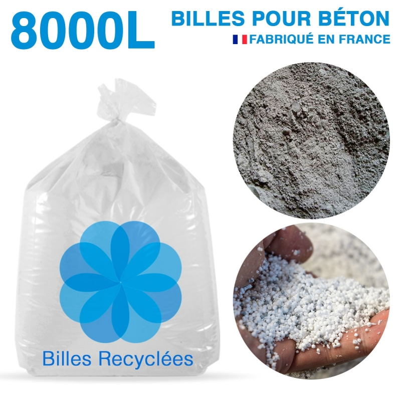 8000 litres, 8m3 de billes et poussières de polystyrène recyclé pour béton