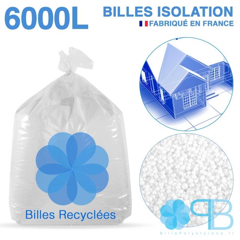 6000 litres, 6M3 de billes de polystyrène recyclé pour isolation