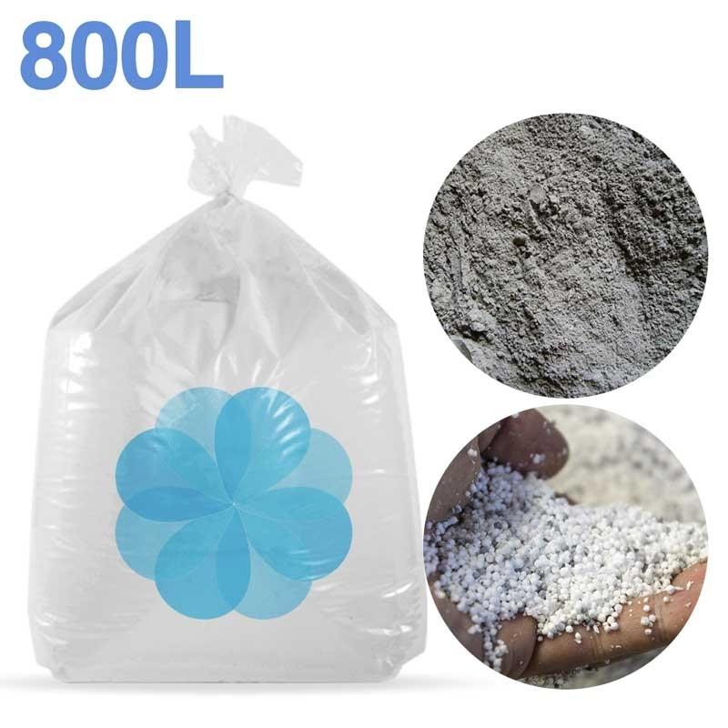 800 litres de billes et poussières de polystyrène recyclé pour béton, ciment, chape allégée.