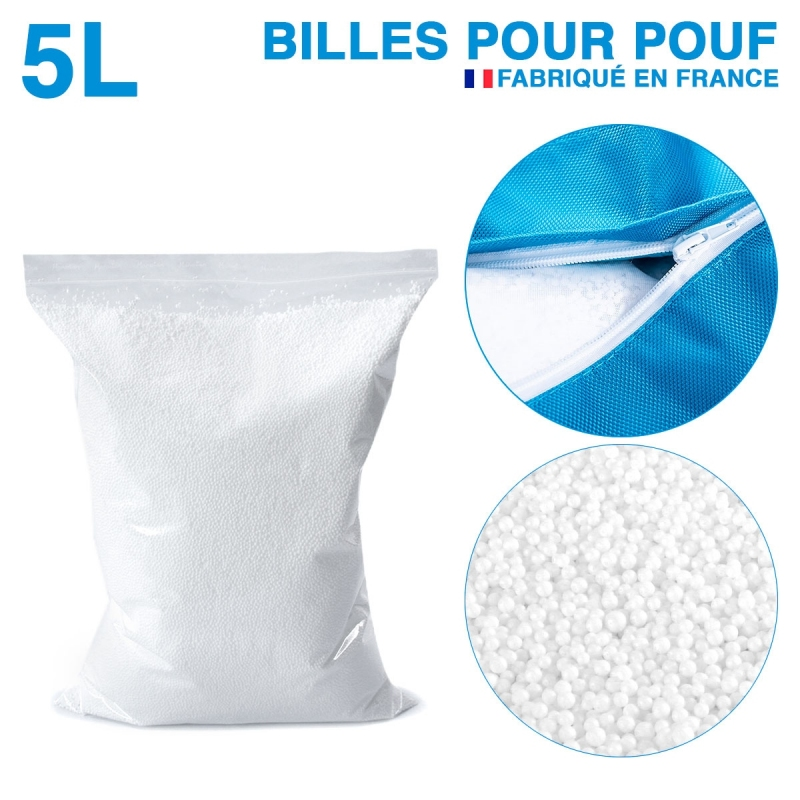 5 litres de billes de polystyrène recyclé pour pouf
